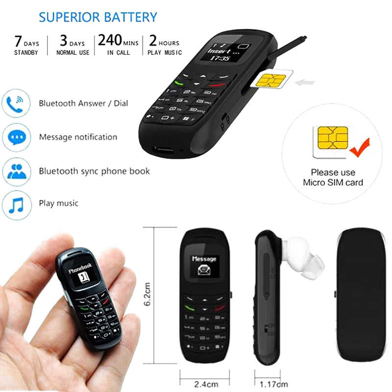 Baru BM70 Mini Kecil GSM Ponsel Bluetooth Dialer Headset Ponsel Earphone
