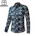 2016 Fashion Long Sleeve Casual Cotton Trend Collocation Camo Woodland Slim Individuality Breathable Comfort  Men's Shirts M336