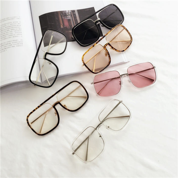 2018 Luxury Oversized Square Sunglasses Women Retro Brand Designer Transparent galsees For Men Ladies Goggles Eyewear