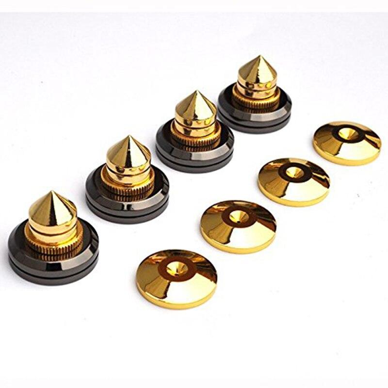 4 ensembles Or Haut-Parleur Pointes Subwoofer Spikes Isolement CD Amplificateur Platine Pad Stand Pieds