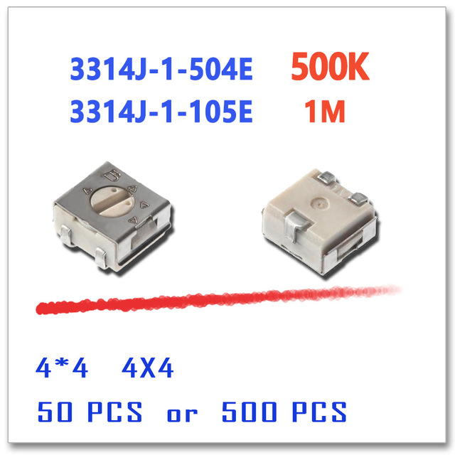 JASNPROSMA 3314J 1 504E 500K 3314J 1 105E 1M 50 stücke 500 stücke 4x4 4mm stereo Rheostat OHM SMD 3314 3314J trim trimmer