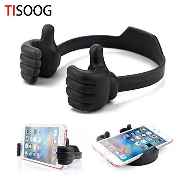Tisoog Universal Adjule Foldable Cell Phone Tablet Desk Stand Holder Smartphone Mobile Bracket Thumbs
