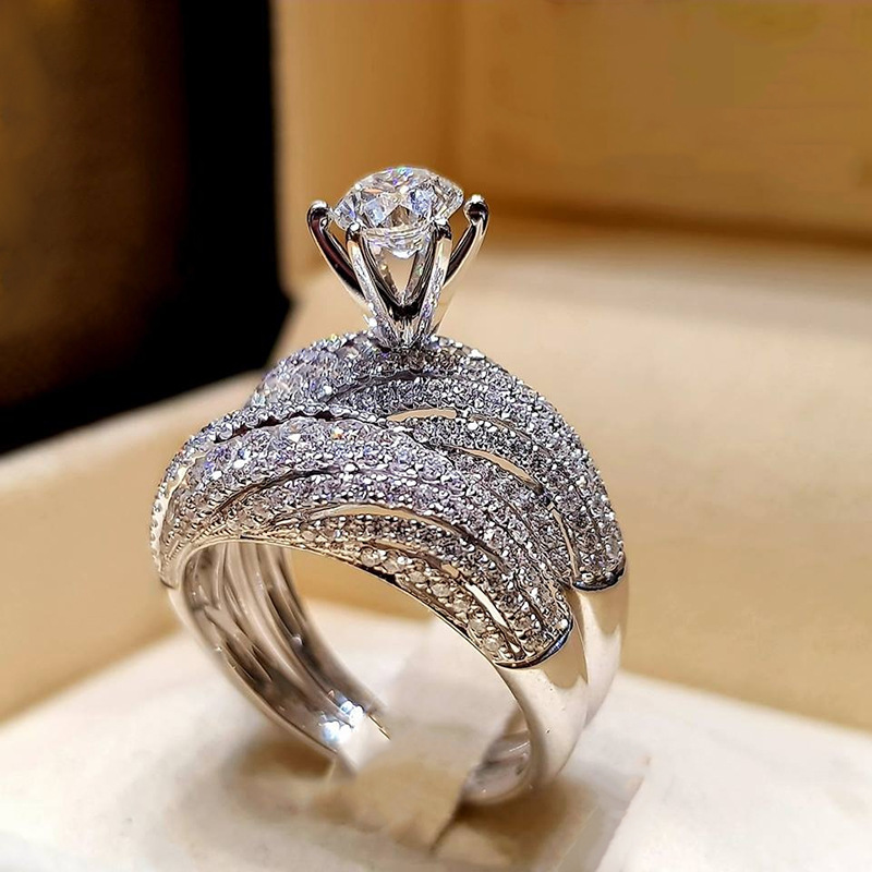 Elegant Rings Zircon-Stone Bridal-Set Fashion Jewelry Sliver-Color Wedding-Engagement