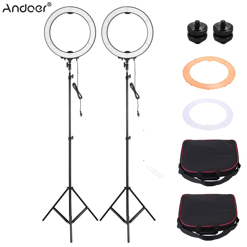 Prix pour Andoer la-650d 2 pcs led light ring kit selfie vidéo lumière avec la lumière stand orange filtre blanc doux filtre stand montage adaptateur