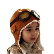 Unisex Bomber Hats Child Pilot Aviator Hat Earmuffs Beanies Kids Autumn Winter Warm Earflap Ear Protection Cap Child Accessories cheap Polyester Children Dwayne Solid