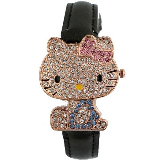 Lovely Fashion Hello Kitty Watch Children Girl Women Dress Crystal Quartz Wristwatch Female Wrist Watch Kids