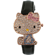 Lovely Fashion Hello Kitty Watch Children Girl Women Dress Crystal Quartz Wristwatch Female Wrist Watch Kids Cute Clock