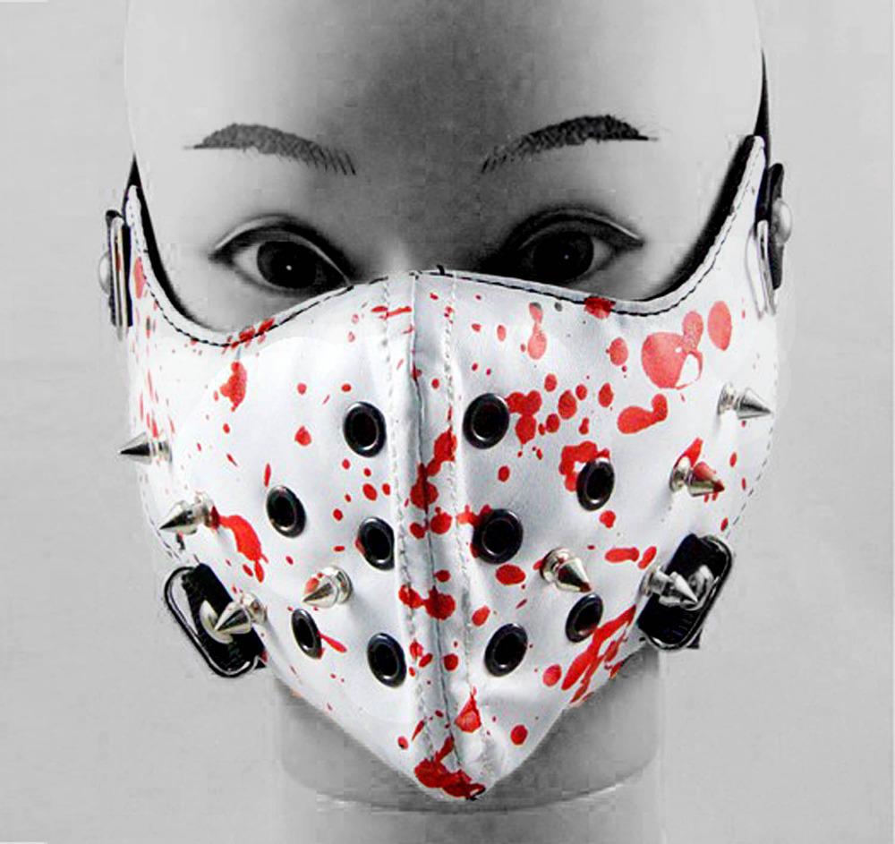 Spike Steampunk Biker Mask Masquerade Bloody white Leather Cosplay Unisex Gothic Punk