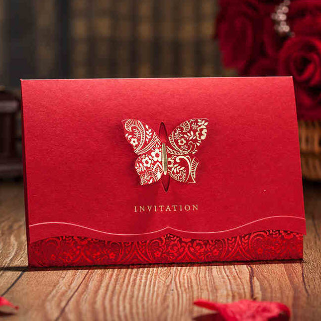 Clic Red Shiny 3d Erfly Wedding Invitations Cards By Wishmade Cw504 Minimum Order