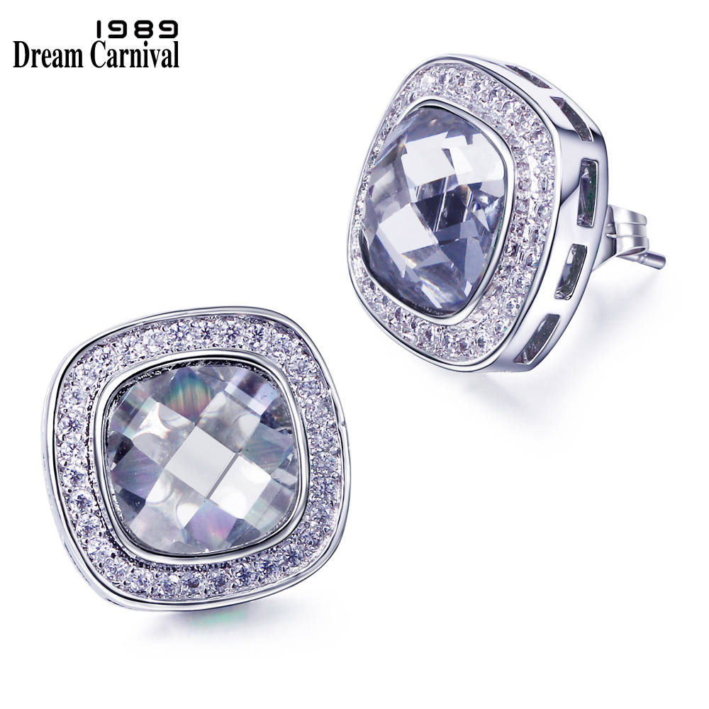 DreamCarnival 1989 Square Stud Earings for Women Green White Blue Red Purple Gold Colors Sparkle CZ Wedding Jewelry Brincos Moda