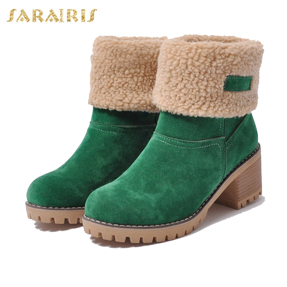 SARAIRIS New Large Sizes 34-43 for cold winter snow Boots Women shoes woman Fashion keep warm slip on lady Boots female shoes 2015 new arrival fashion women winter snow boots warm ladies shoes bowtie slip on soft cute shoes purple color sweet boots