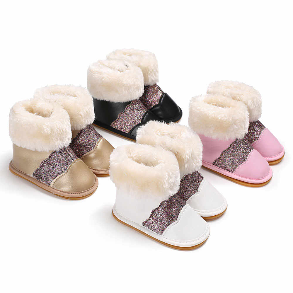 Детские зимние сапоги; Мягкие резиновые ботиночки для маленьких девочек; младенческие сапоги для снега; теплые блестящие сапоги для новорожденных; высококачественные хлопковые зимние сапоги для малышей