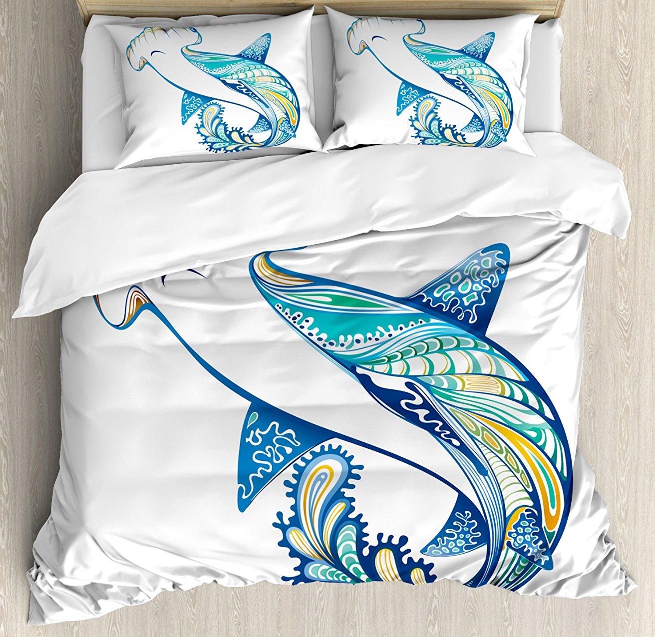 Résumé décor à la maison housse de couette ensemble, tête de marteau requin orné sous-marin mer océan vie animaux thème marin Image