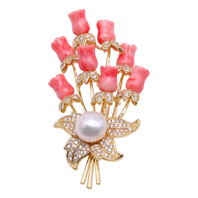 308459b9ace JYX Fine Women Brooches coral Pin with 10.5mm natural White Freshwater Pearl  coral brooch elegant