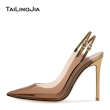 Sexy Pointed Toe Clear Heels PVC Dress Transparent Shoes Woman High Heel Slingback Pumps Women Stiletto Lady Party 2019