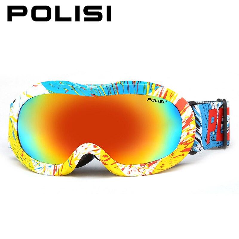 ФОТО POLISI Winter Snow Ski Goggles Children Kids Polarized Snowboard Glasses Boys Girls Anti-fog Outdoor Skateboard Skiing Eyewear
