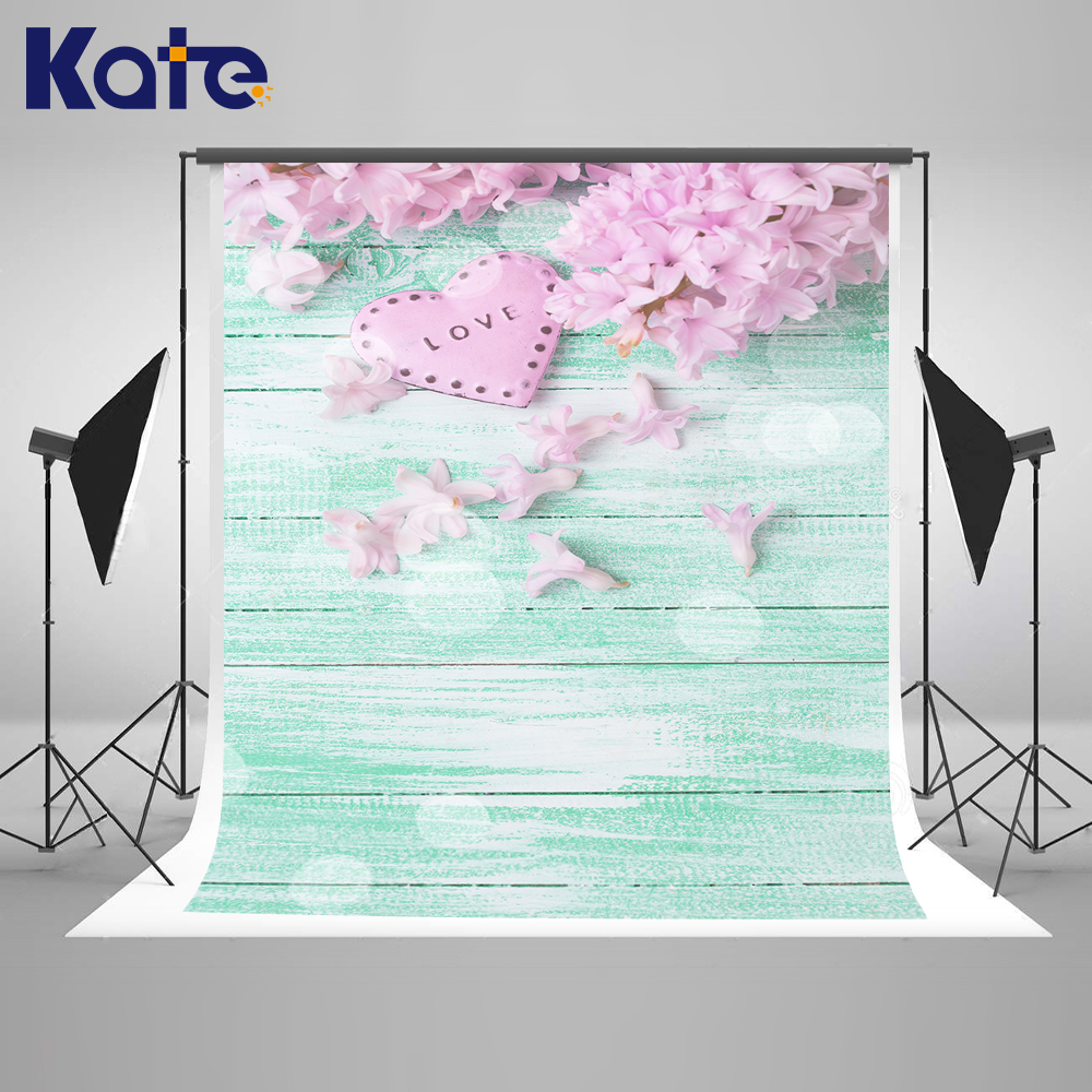150x220cm Kate Wedding Photography Background Pink Flower Blue Wood Floor Backdrop Love Printed background photography indoor