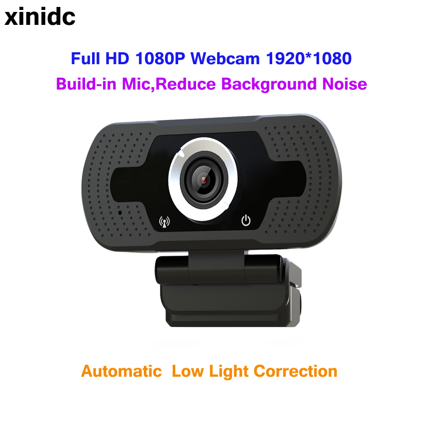 Xinidc Webcam 1920*1080 HD Computer <font><b>Web</b></font> <font><b>Cam</b></font> For Laptop Desktop Smart TV USB Plug and Play Low-light Gain <font><b>1080P</b></font> Built-in Mic W6 image