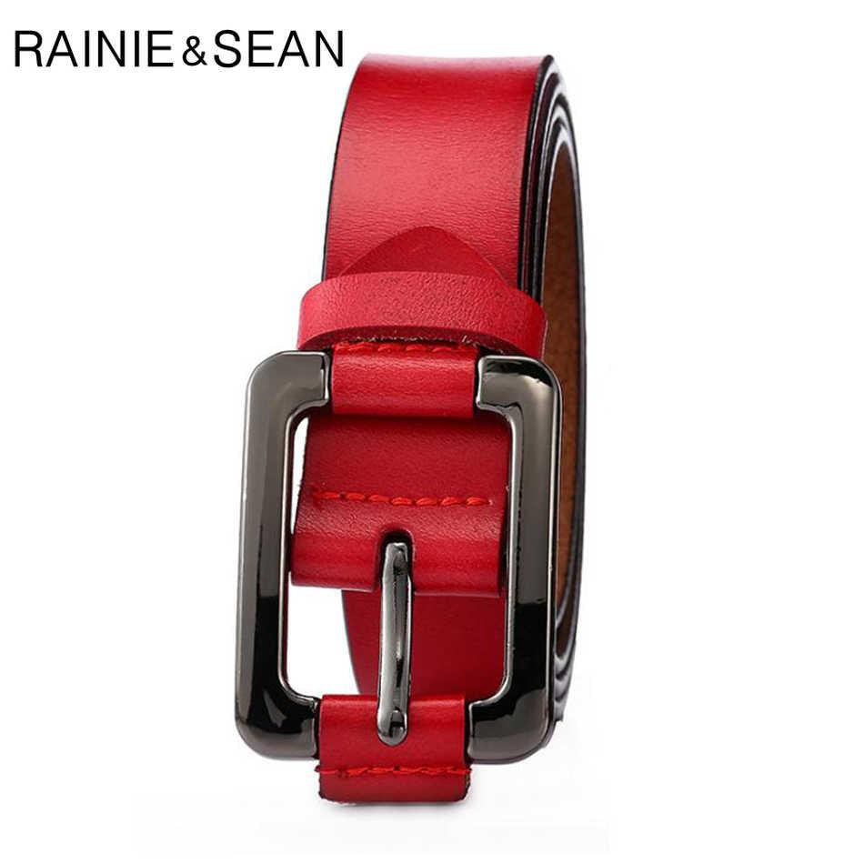 レイニーショーン女性ベルト本革ビジネスヴィンテージ女性のジーンズベルトピンバックル高品質赤茶色牛革革ベルト
