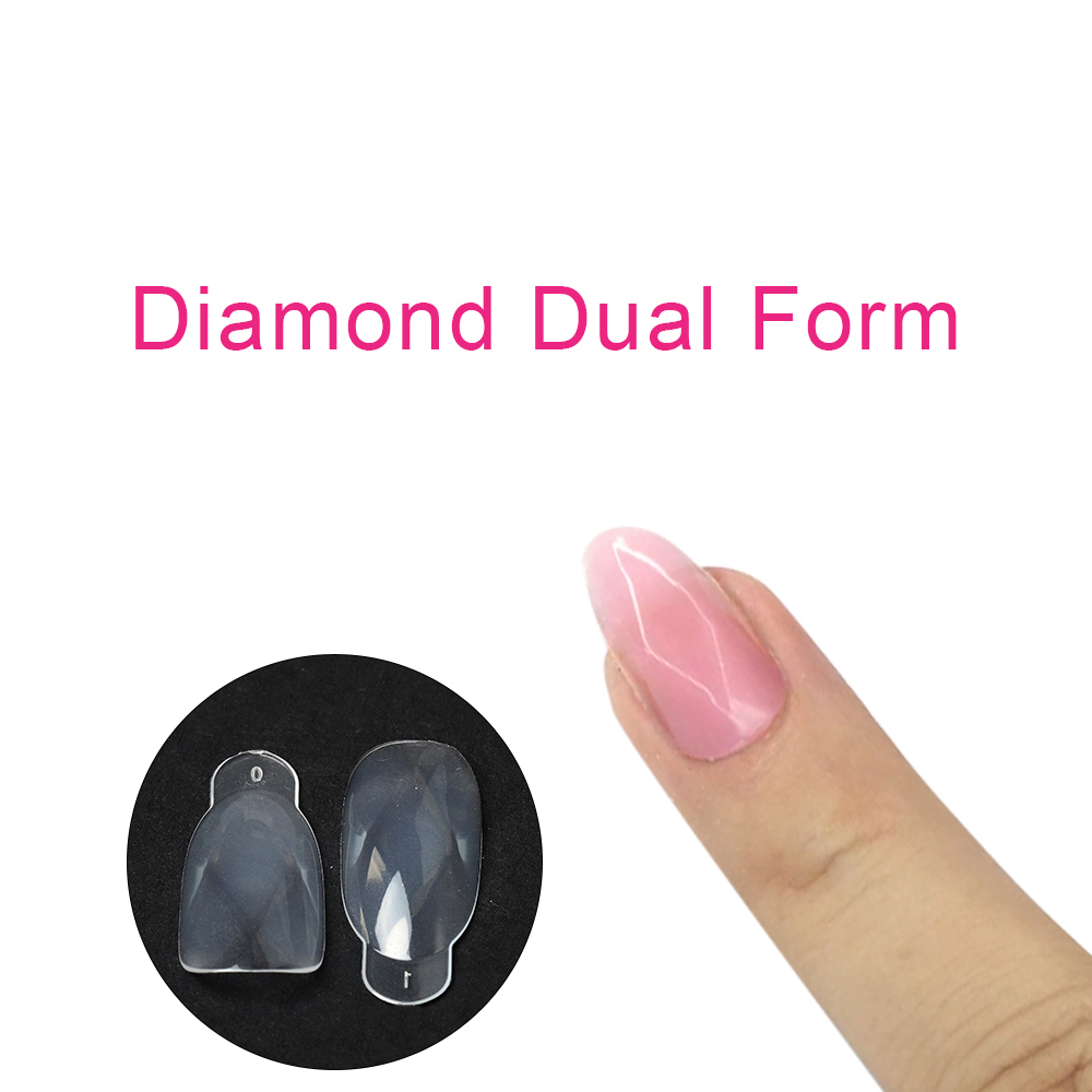 Diamond Acrylic Dual Form Mold 12 Sizes Professional Salon Clear Dual System Nail Forms Finger Extension Model False Tips Sculpt in Nail Form from Beauty Health