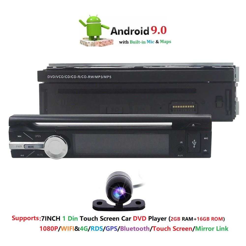 Quad Core 1 din Android 9 0 Universal Radio Car DVD player GPS Wifi BT 2