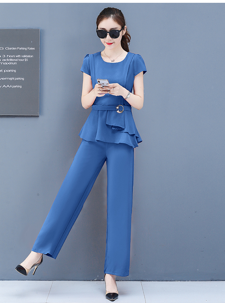 2019 Summer Chiffon 2 Two Piece Sets Outfits Women Plus Size Short Sleeve Tunics Tops And Pants Suits Office Elegant Korean Sets 64