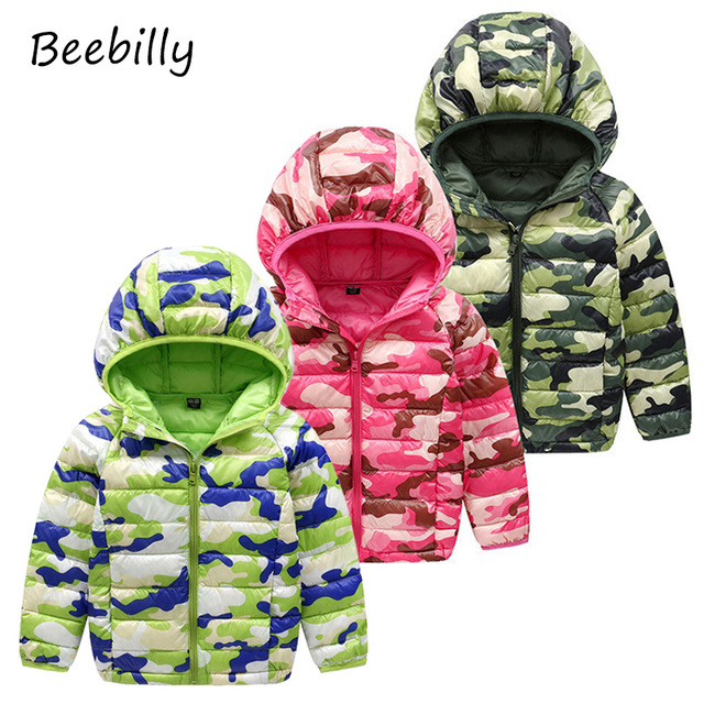 b6ad87173c62 BEEBILLY Girls Winter Jackets Boys Camouflage Style Girl Fashion ...