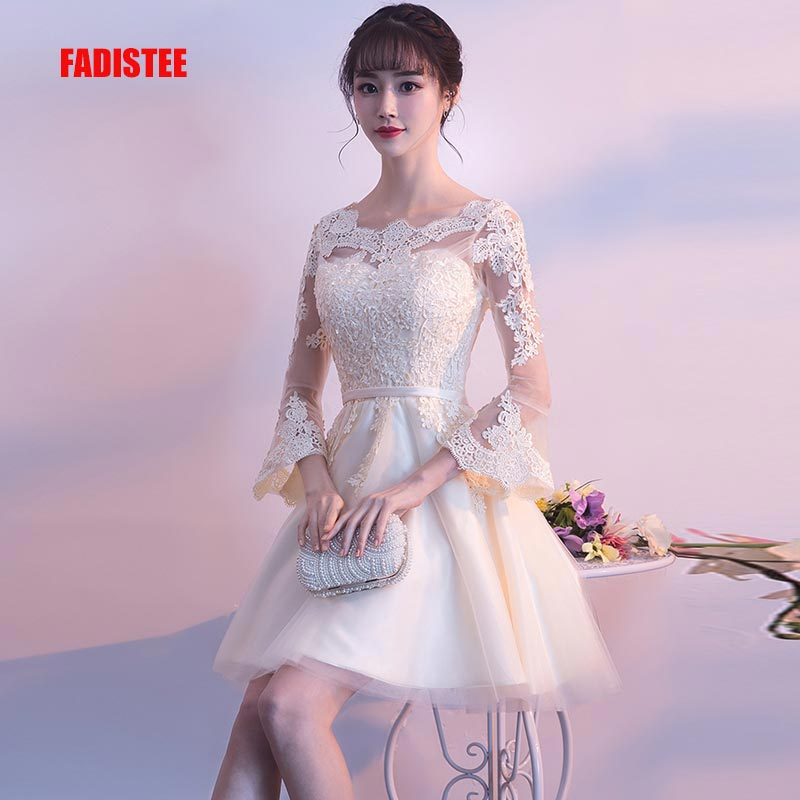 FADISTEE New Design A-line Short Dresses Cocktail Party Dress Lace Elagant Simple Lace-up Half Sleeves Modern Prom Party Frock
