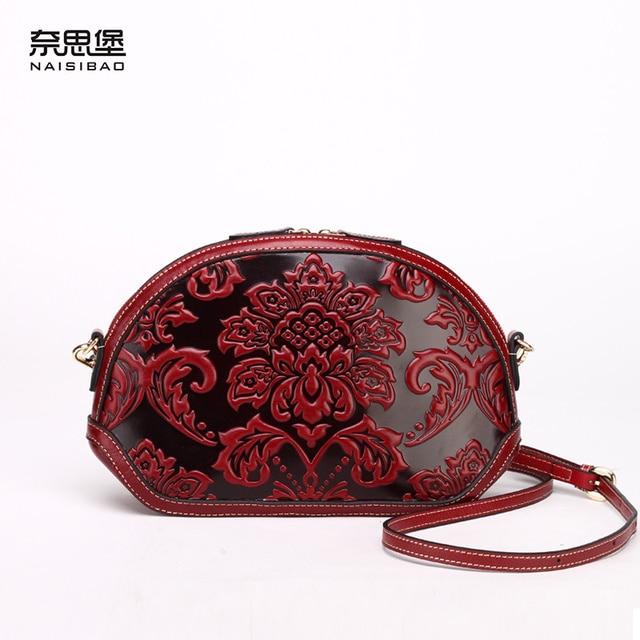 High quality Shell bag Chinese element Genuine leather women bag 2017 fashion handbags satchel retro casual lady Messenger Bag