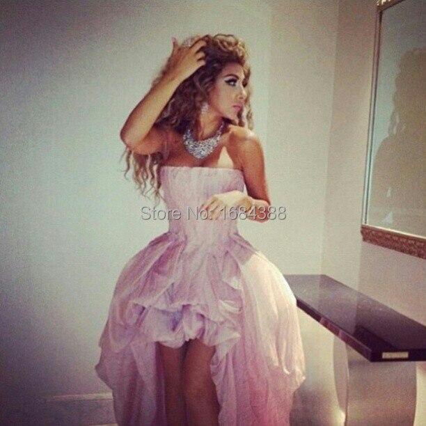 2015 Myriam Fares vestido de noche Formal de los vestidos de bola del vestido Strapless color rosa Organza partido de la celebridad vestidos plisado Hi Lo por encargo