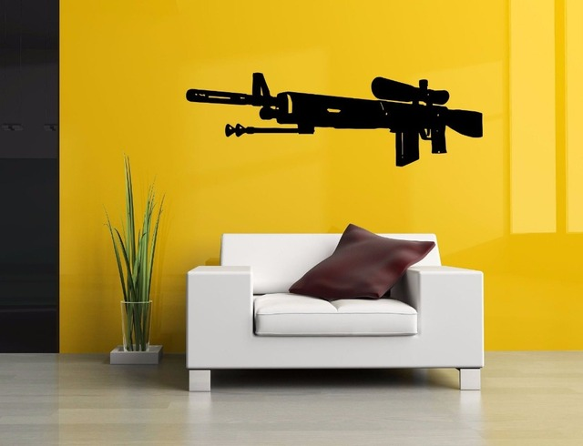 Gun Pattern Vinyl Wall Decal Army Weapon Sniper Rifle Gun Mural Art ...