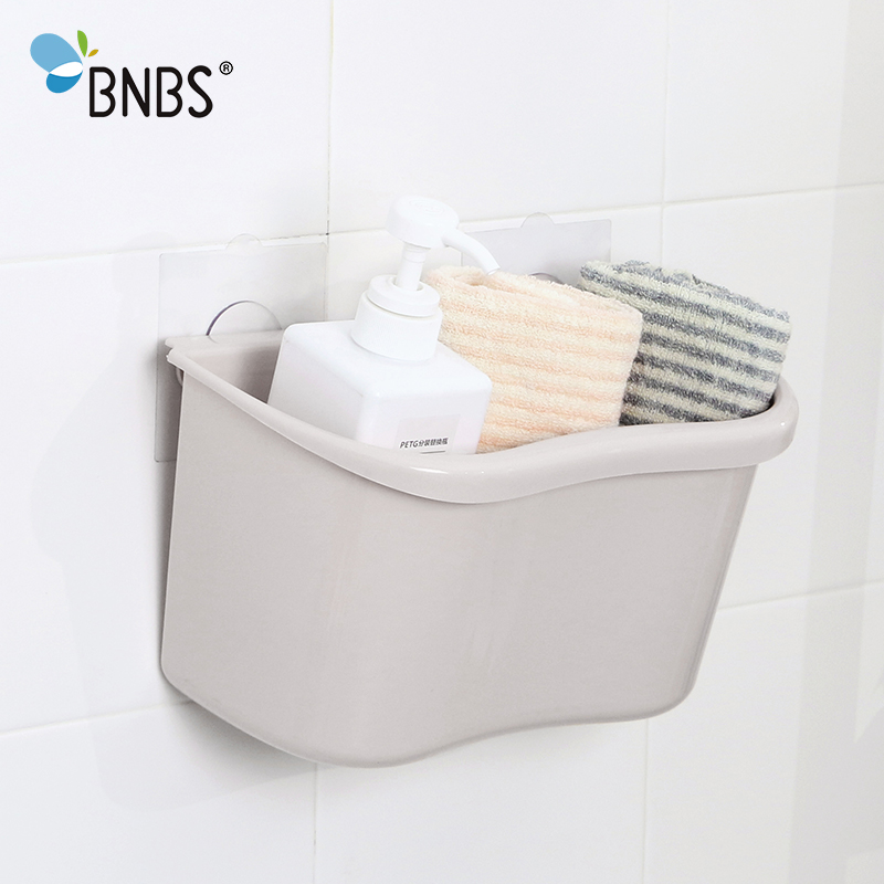 BNBS Creative Double Sucker Cup Wall Hooks Storage Box Hanging Kitchen Bathroom Multifunction Plastic Desktop Storage Bucket ...