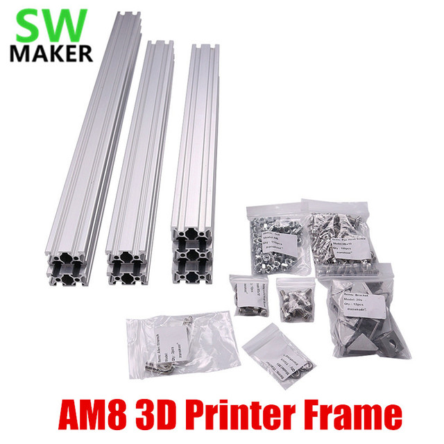 1 set AM8 3D Printer Aluminum Metal Extrusion Profile Frame with /  Nuts Screw Bracket Corner for Anet A8 3D printer parts