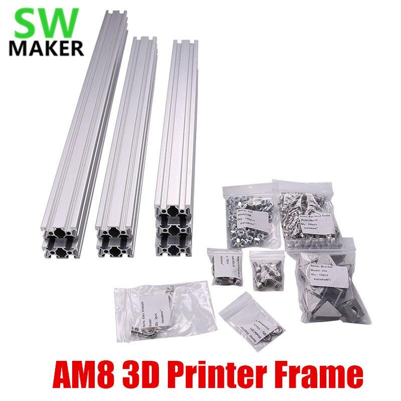 Conjunto 1 AM8 3D Impressora de Alumínio Perfil De Extrusão De Metal Quadro com/Porcas Parafuso Do Suporte de Canto para Anet A8 3D peças de impressora