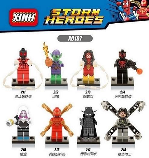 X0107 Building Blocks Captain America 3 Iron Spider-Man Woman Gwen Green Goblin Shadows Doctor Octopus Bricks Toys For Children