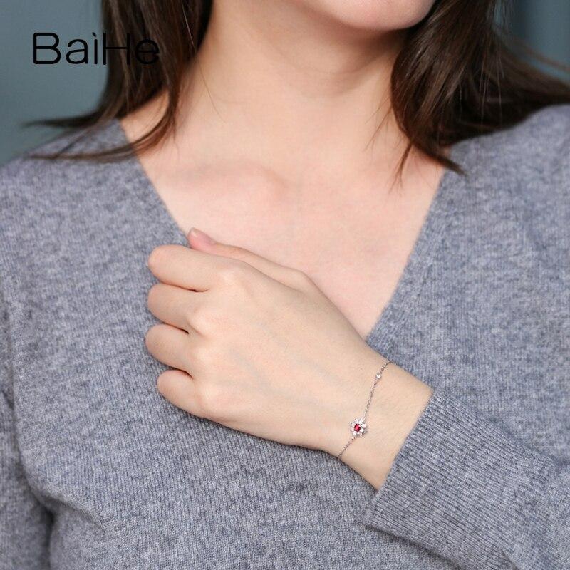 BAIHE sólido 14 K oro amarillo 0,2ct Certificado H/SI 100% diamantes naturales genuinos compromiso mujeres moda joyería fina pulsera - 5