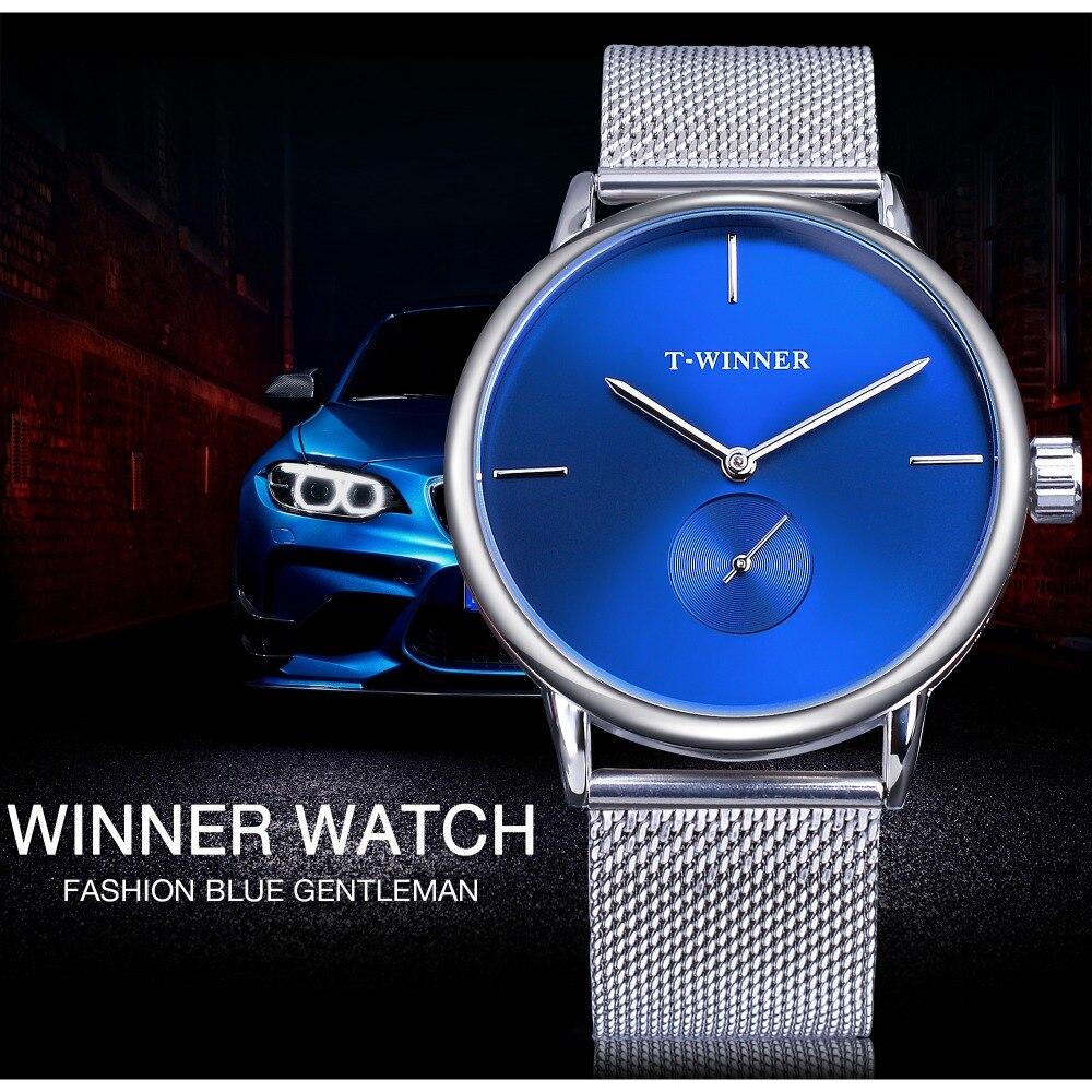 Winner 2019 Fashion Blue Display Silver Mesh Belt Transparent Dial Men's Mechanical Wristwatches Top Brand Luxury Waterproof 2