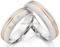 custom tailor made rose gold palting titanium steel white zircon engagement ring sets for men and women titan trauringe