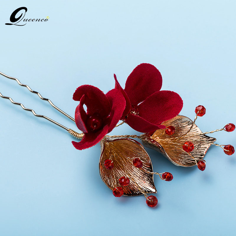 Red Flower Hair Pins Gold Leaves Wedding Bridal Hair Accessories Pearls Hair Stick Romantic Girls Headpiece Women Party Jewelry