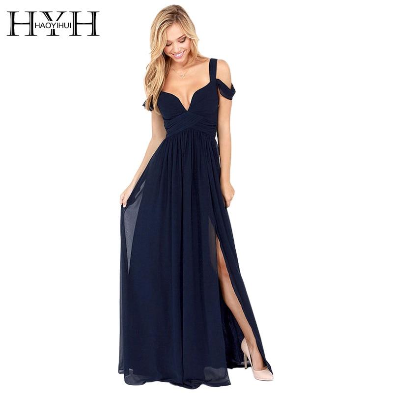 HAOYIHUI uhiuus suvine põranda pikkus tahke õhtusöök Seksikas pikk kleit elegantne küljeosa V kaelarihm naise kleit kleidid