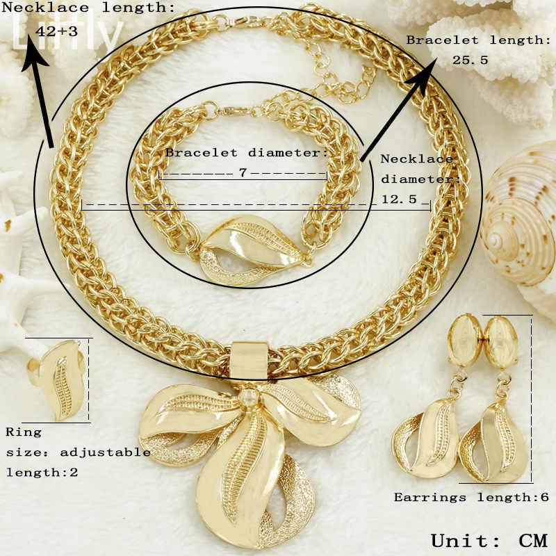 Liffly de Dubai conjuntos de joyas de oro de moda de las mujeres gran colgante collar pendientes anillo pulsera Africana conjunto de joyería de la boda