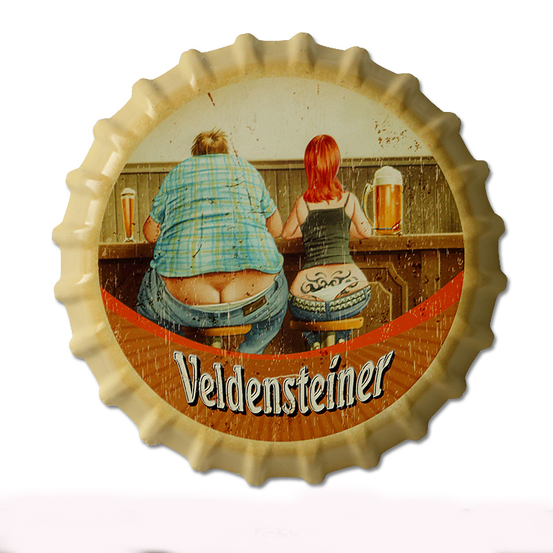 35cm Velden Steiner Vintage Tin Signs Bar Lounge Culb Wall Decor Metal Beer Bottle Caps Poster Plate Signs for Bar Placa Metal