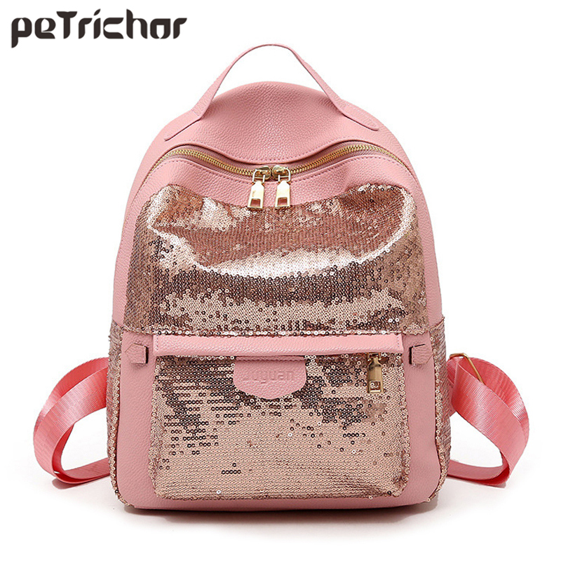 Petrichor Sequins High Quality Pu Leather Women Backpack Fashion School Bags for Teenage Girls Student Cute Female Mochila 2018 new korean kpop women pu backpack teenage girls fashion exo bags casual travel student bags mochila