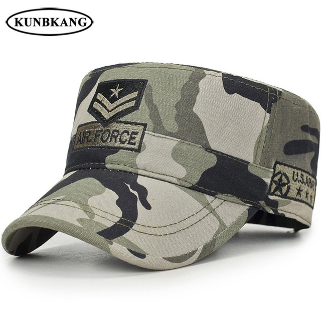e1f316efff5 New US Tactical Flat Top Hat Army Cap Men Air Force Baseball Cap Camouflage  Embroidery Star Bone Outdoor Camo Visor Sun Dad Hat