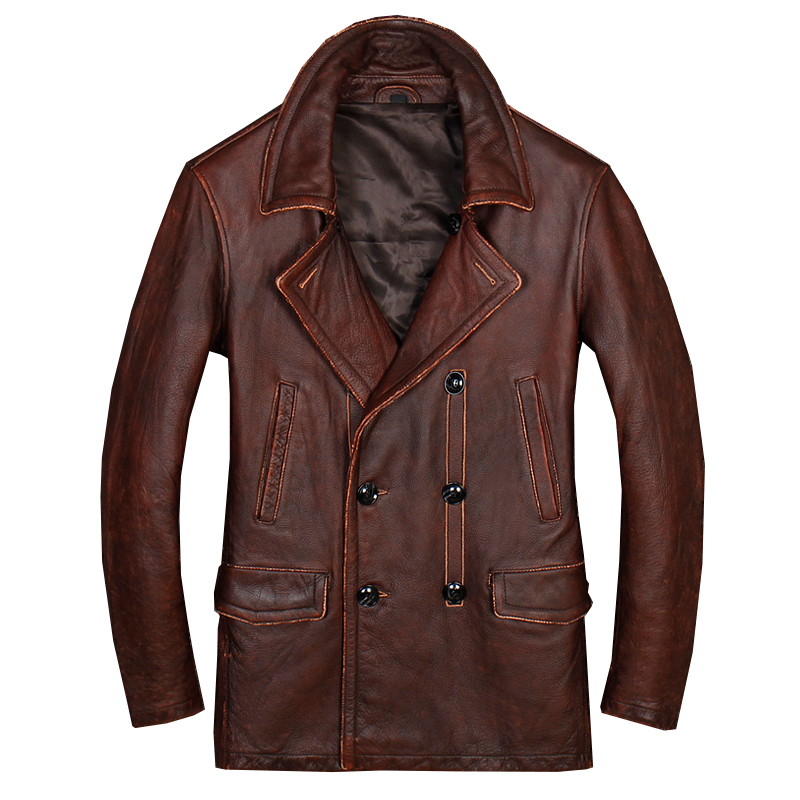 HARLEY DAMSON Vintage Brown Men Long Casual Leather Jacket Double Breasted Plus Size XXXL Genuine Cowhide Winter Russian Coat-in Genuine Leather Coats from Men's Clothing    1