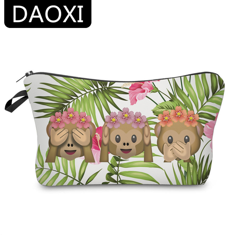 цена на DAOXI 3D Printing Emoji Monkey Funny Cosmetic Bags Necessaries for Travelling Women Organizer YY10179