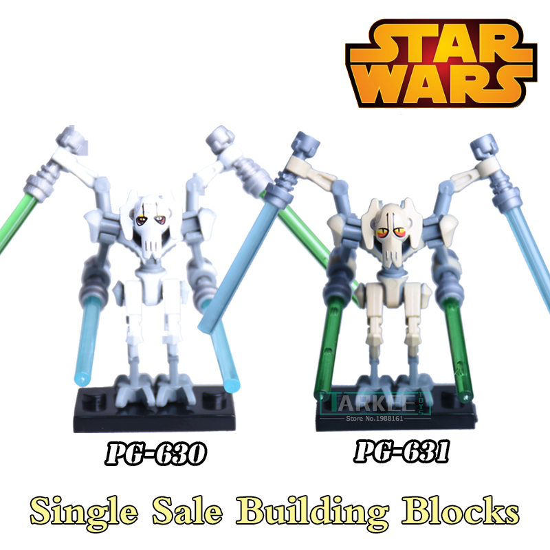 1PC Star Wars Building Blocks Super Heroes Diy Figures Silver Gold General Grievous With Lightsaber Bricks Children Gift Toys