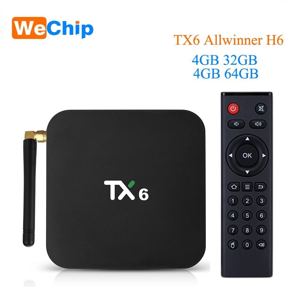 Wechip TX6 Intelligent Android 9.0 TV BOX 4G 32G Allwinner H6 Quad core 2.4G + 5G double Wifi BT 4.1 Set Top Box 4 K HD H.265 lecteur multimédia