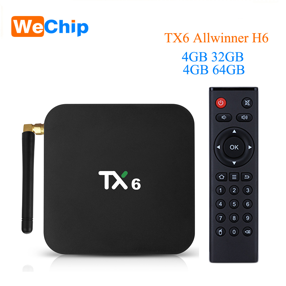 Wechip TX6 Smart Android 9,0 ТВ коробка 4G 32G Allwinner H6 Quad core 2,4G + 5G Dual Wifi BT 4,1 Декодер каналов кабельного телевидения 4 K HD H.265 Media Player