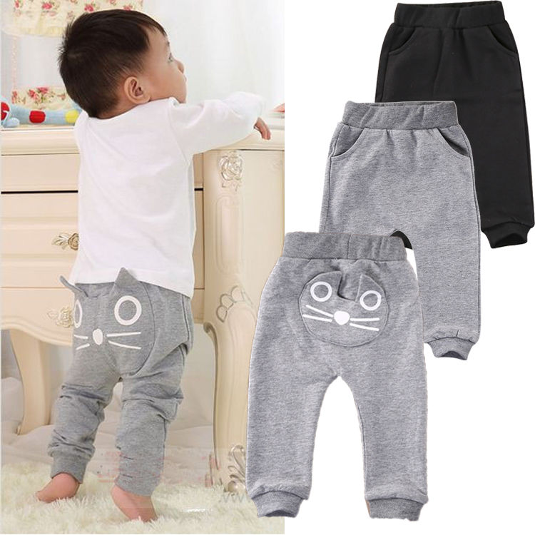 Harem Pants Bottoms Clothes Cute Cat Baby Kids Boys Girls Pants Cotton Warm Clothing Trousers 3-24M